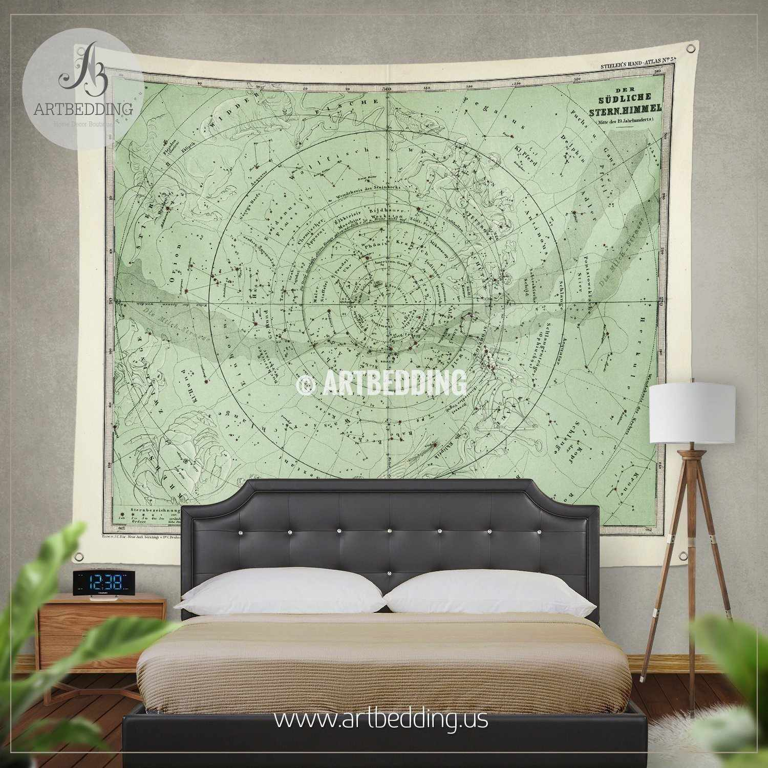 1872 antique stieler map of south sky star chart wall tapestry 1872 antique stieler map of south sky star chart wall tapestry vintage interior map wall amipublicfo Gallery