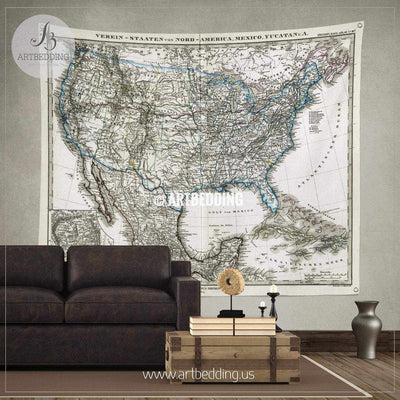 1872 Antique Stieler Map of the United States of America wall tapestry, vintage interior map wall hanging, old map wall decor, vintage map wall art print Tapestry