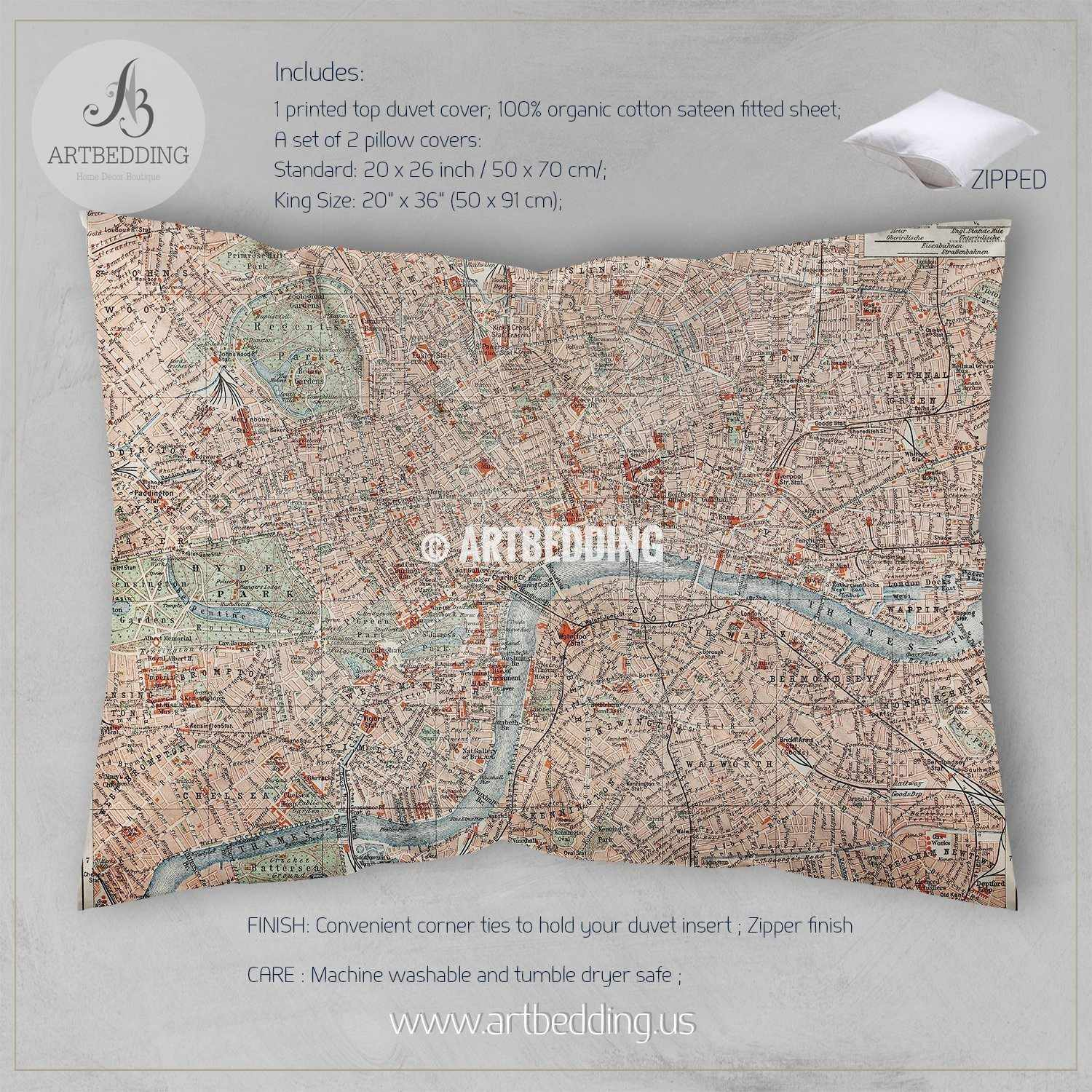 19th century old street map of London bedding Vintage London old