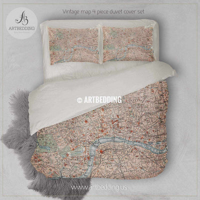 19th century old street map of London bedding, Vintage London old map duvet cover set, Old London map comforter set Bedding set