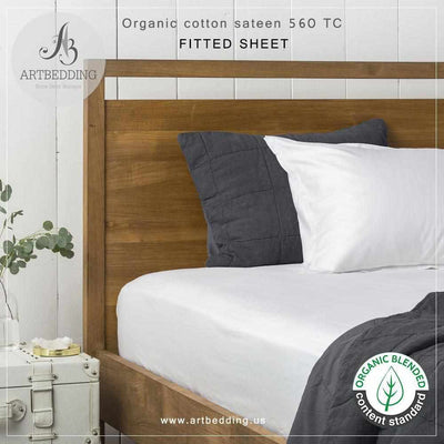 560-Thread-Count Deluxe Organic Cotton Sateen Fitted Sheet, Easy Care Organic Cotton Rich Sateen Fitted sheet sheet set