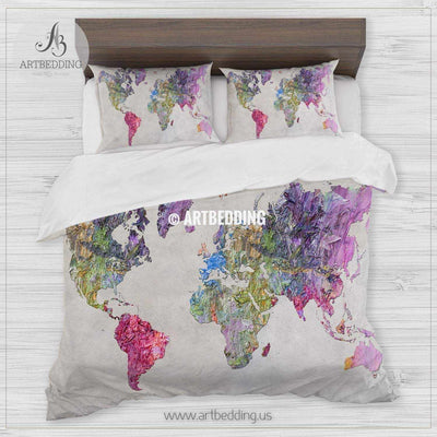 Abstract colorful painting world map bedding, Bohemian wanderlust world map duvet cover set in purple ping and green, Modern wanderlust world map comforter set Bedding set