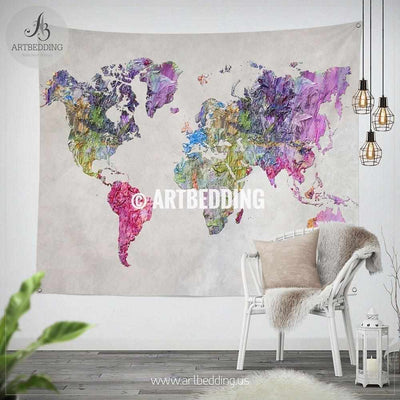 Abstract oil painting world map wall Tapestry, Boho multicolor summer vibes  world map wall hanging, bohemian wall tapestries, boho wall decor Tapestry