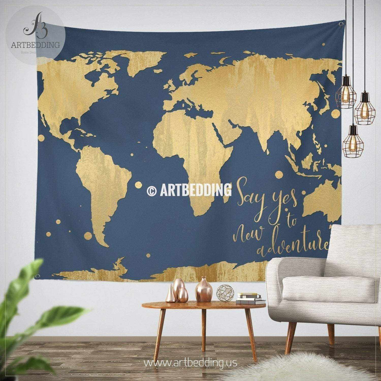 Lets get lost gold world map wall tapestry boho blush pink adventure gold world map wall tapestry boho blue adventure world map wall hanging bohemian gumiabroncs Image collections