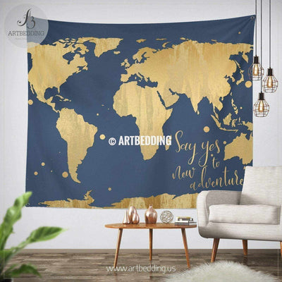 Adventure gold world map wall Tapestry, Boho blue adventure world map wall hanging, bohemian wall tapestries, boho wall decor Tapestry