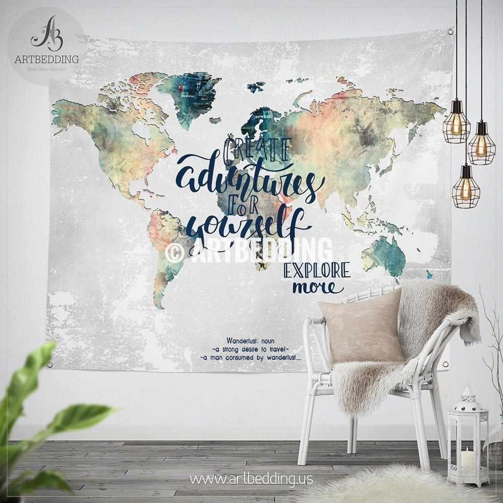 world map wall decor Adventure wall Tapestry, World map watercolor wall hanging, Grunge  world map wall decor