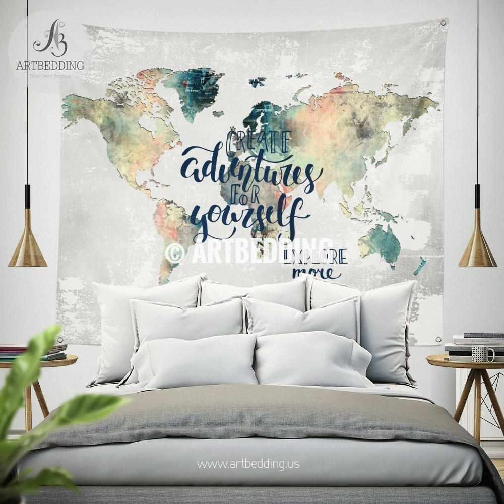 Adventure wall Tapestry, World map watercolor wall hanging, Grunge wanderlust world map wall tapestries, bohemian wall decor Tapestry