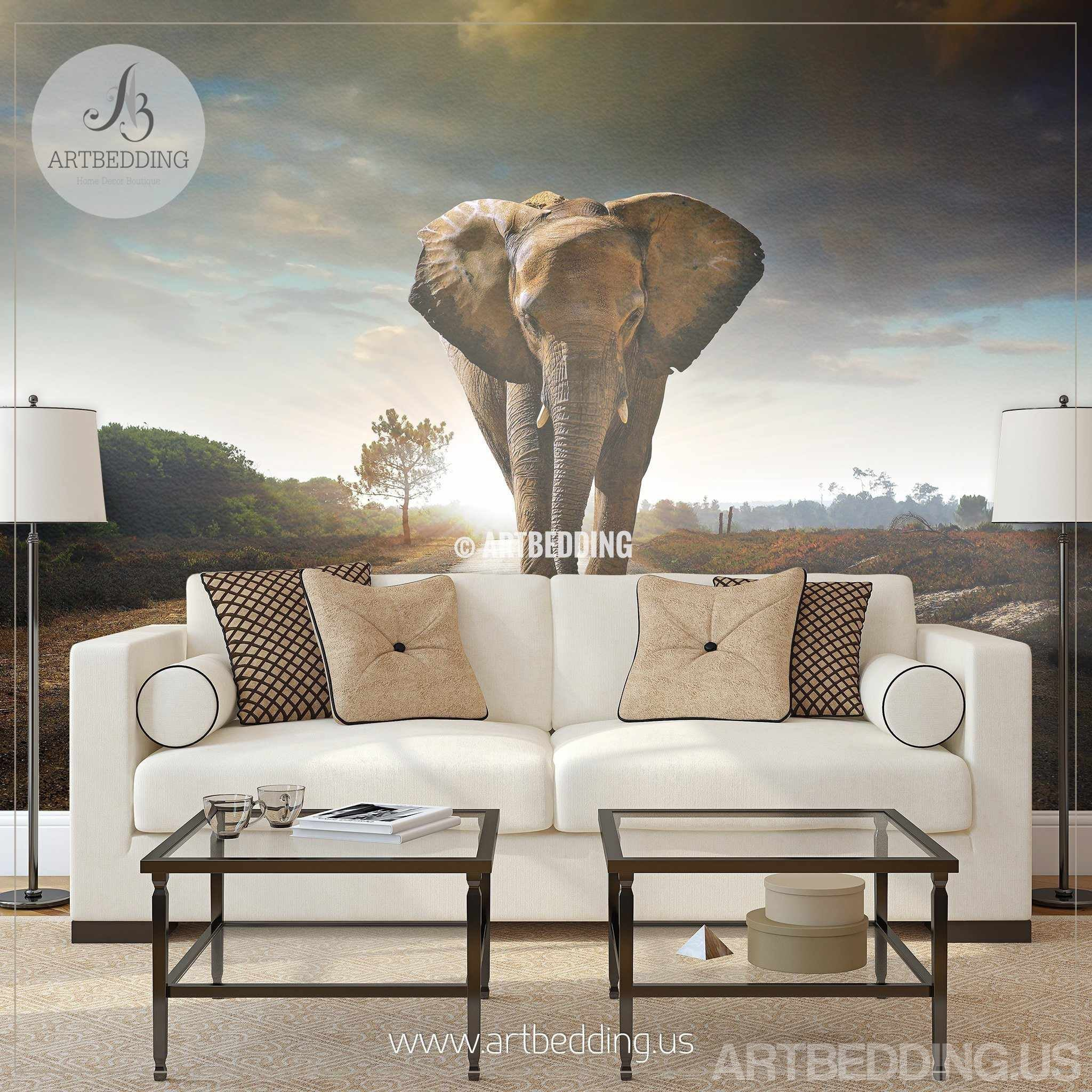... African Elephant Wall Mural, Elephant Self Adhesive Peel U0026 Stick Photo  Mural, Wild Africa ...