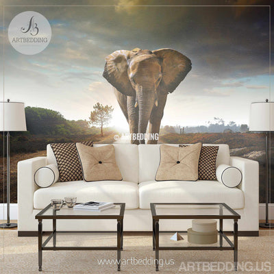 African elephant Wall Mural, Elephant Self Adhesive Peel & Stick Photo Mural, Wild Africa wall decor wall mural