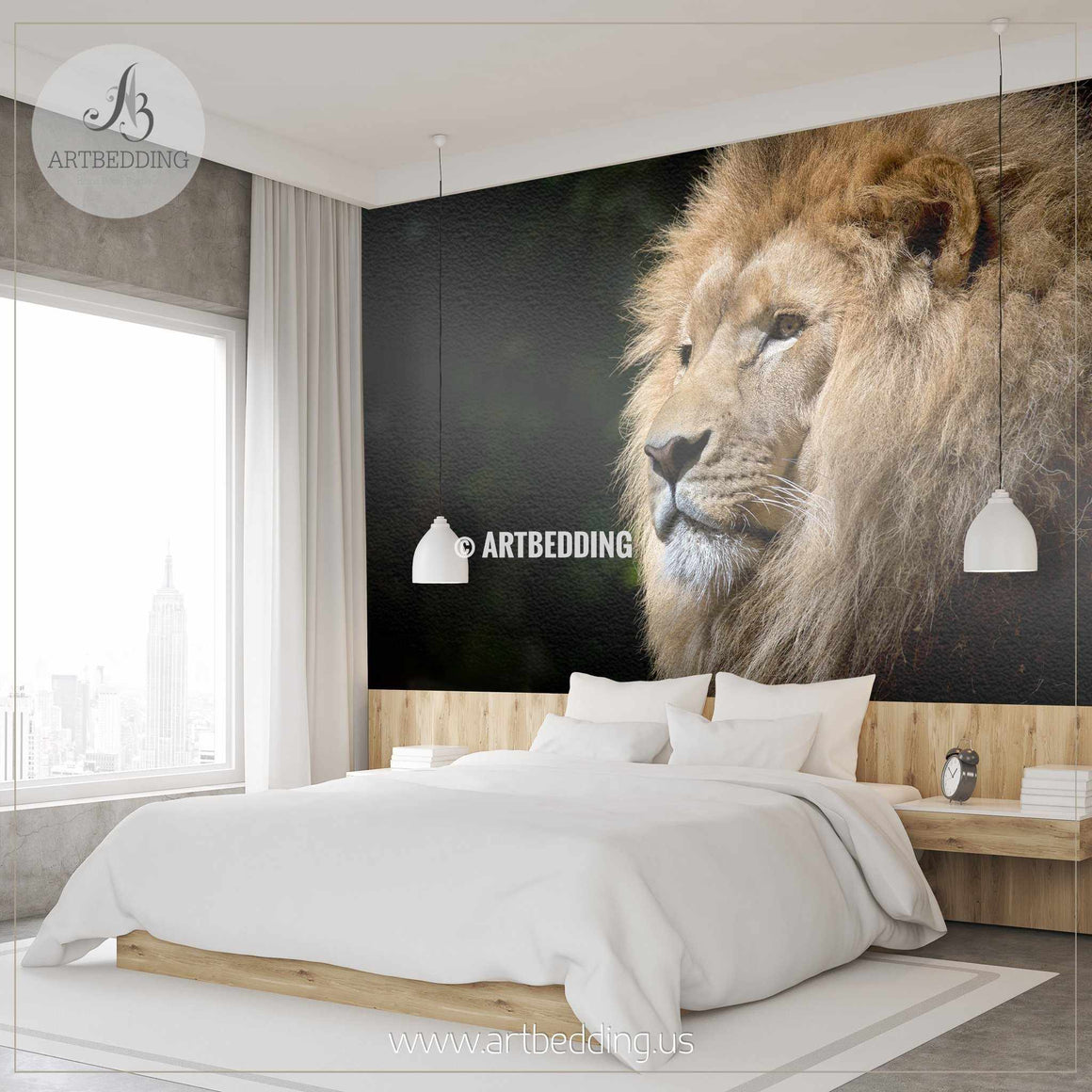 African Lion Wall Mural, African Lion Self Adhesive Peel & Stick Photo Mural wall mural