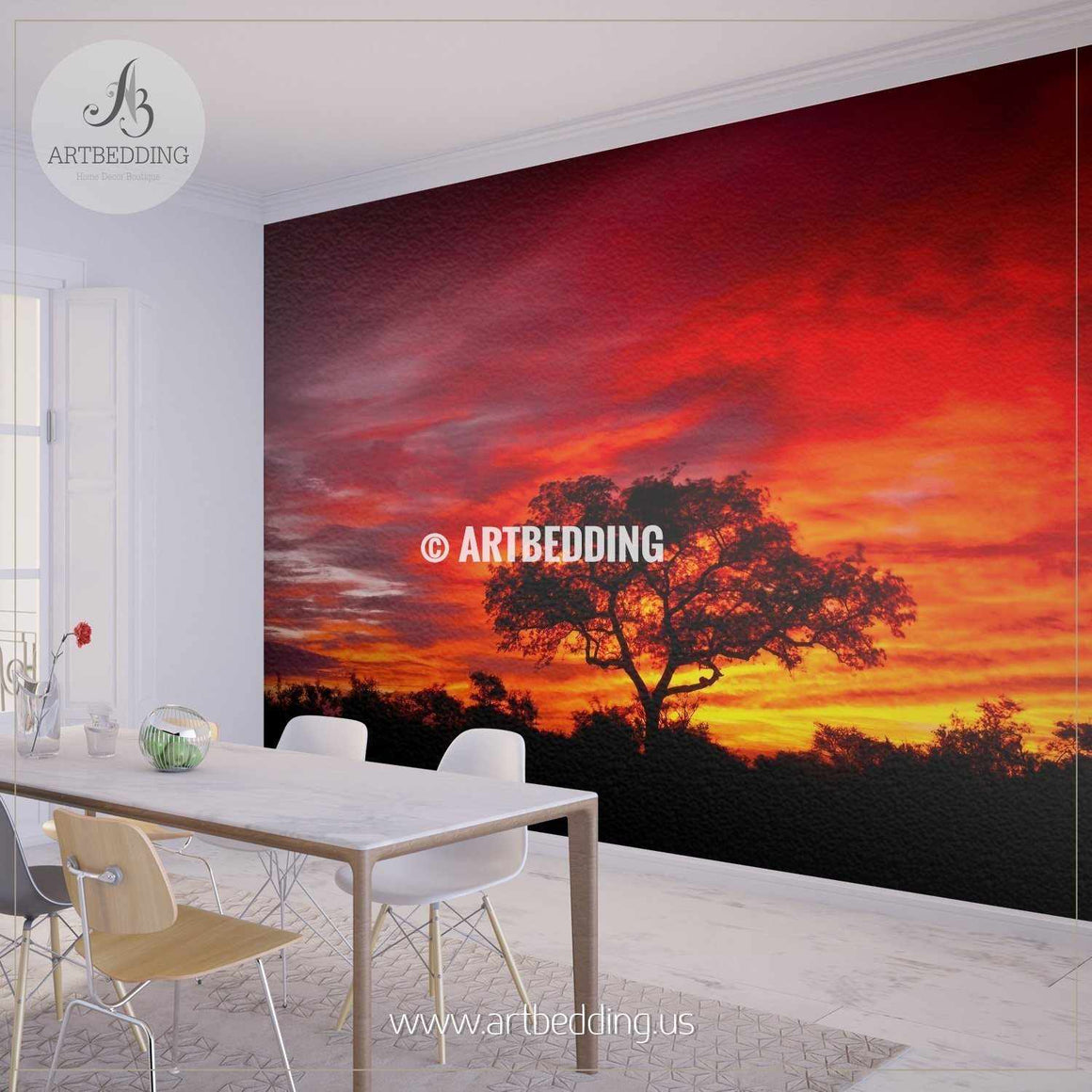 African sunset in the Kruger National Park Wall Mural, Self Adhesive Peel & Stick wall mural wall mural