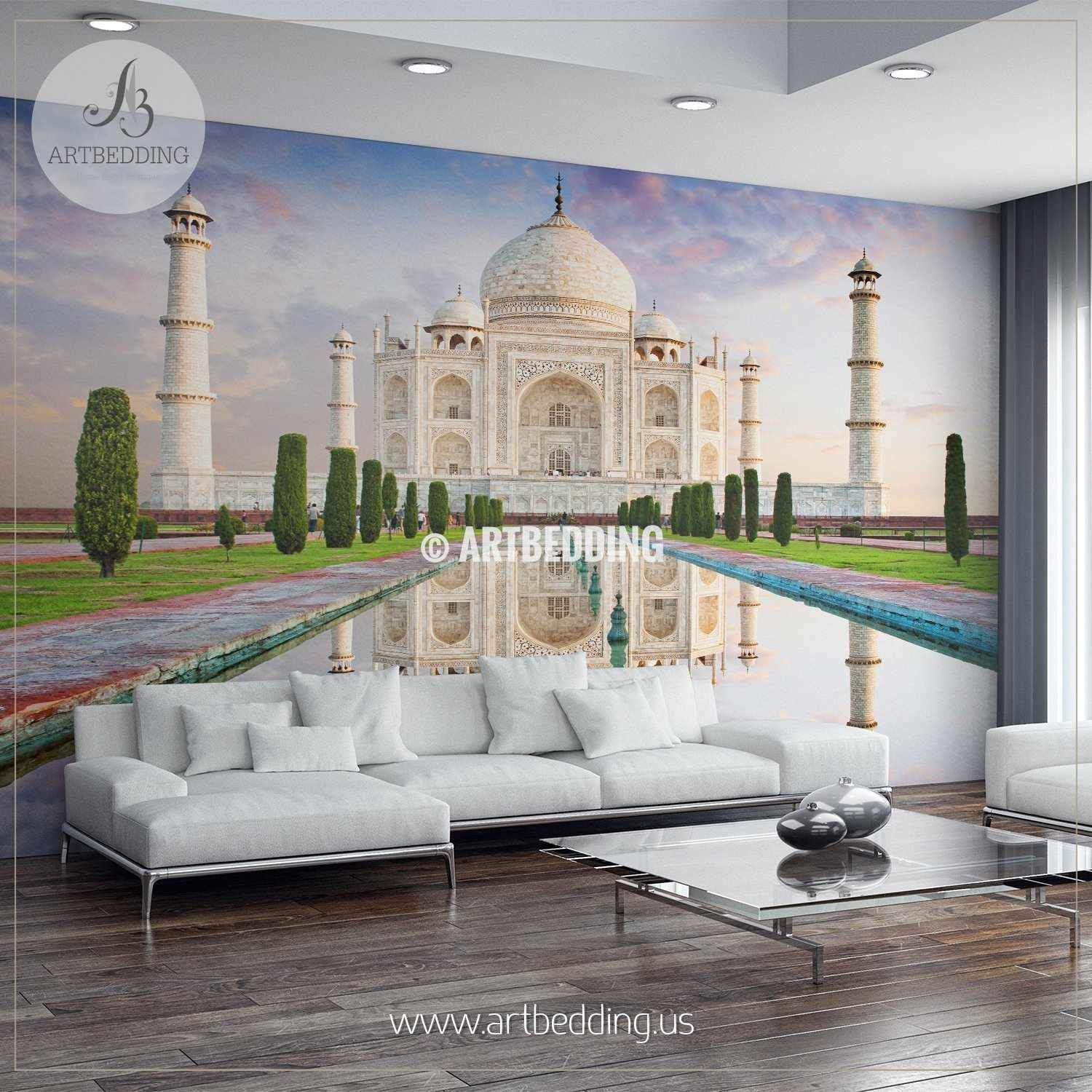 amazing view on the taj mahal during sunset wall mural, india wallamazing view on the taj mahal during sunset, india wall mural, landmarks photo mural
