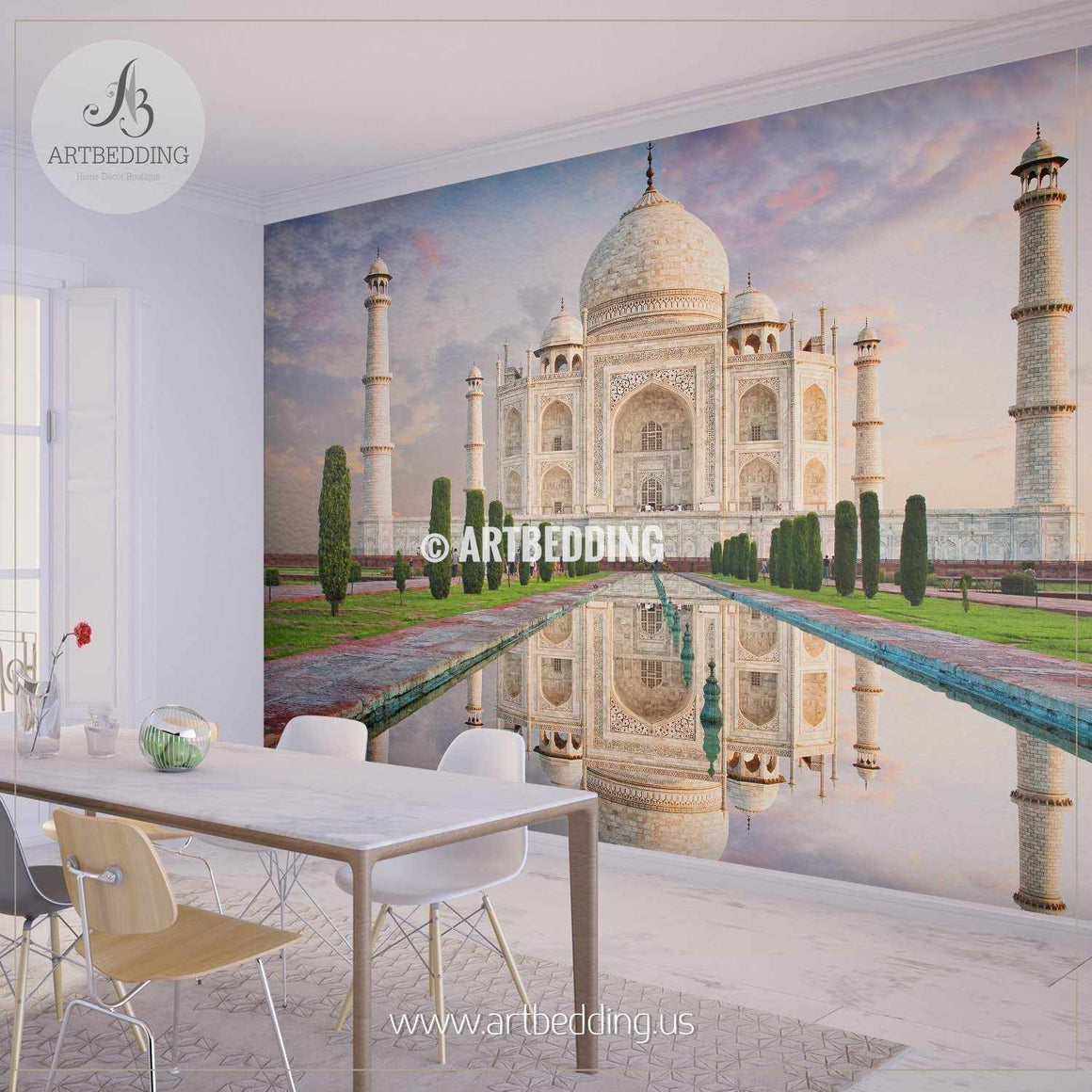 Amazing view on the Taj Mahal during sunset, India Wall Mural, Landmarks Photo Mural, photo mural wall décor wall mural
