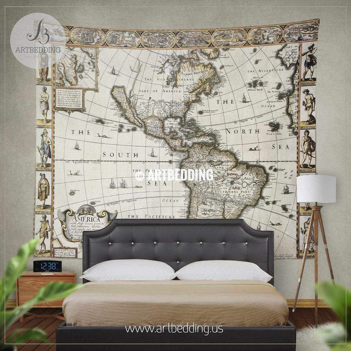 America 1627 old map wall tapestry, vintage interior world map wall hanging, old map wall decor, vintage map wall art print Tapestry