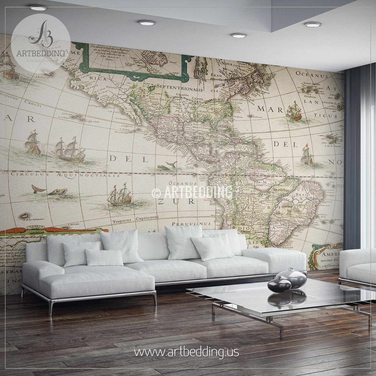 America Map Dated 1631 Wall Mural, Self Adhesive Peel U0026 Stick Photo Mural,  Atlas ...