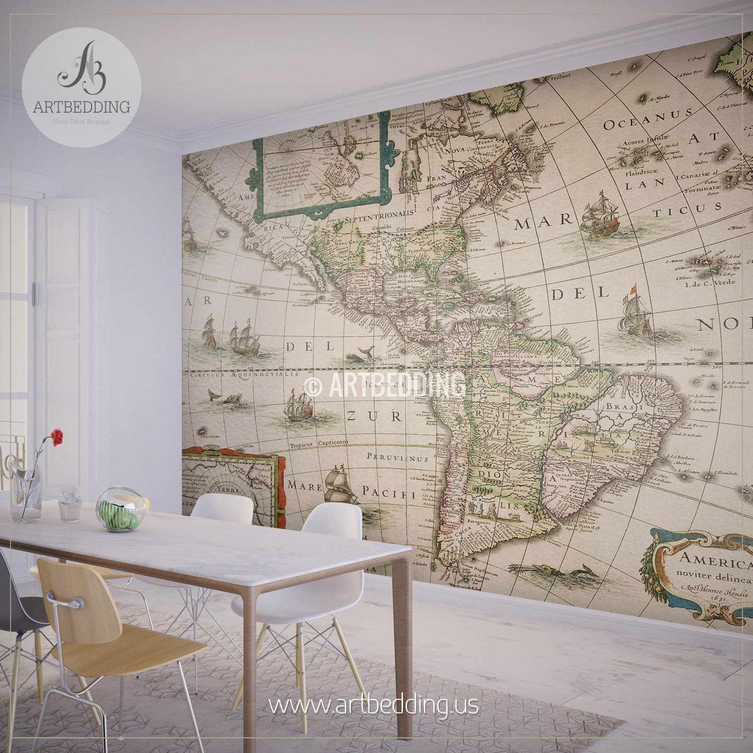 ... America Map Dated 1631 Wall Mural, Self Adhesive Peel U0026 Stick Photo  Mural, Atlas ...