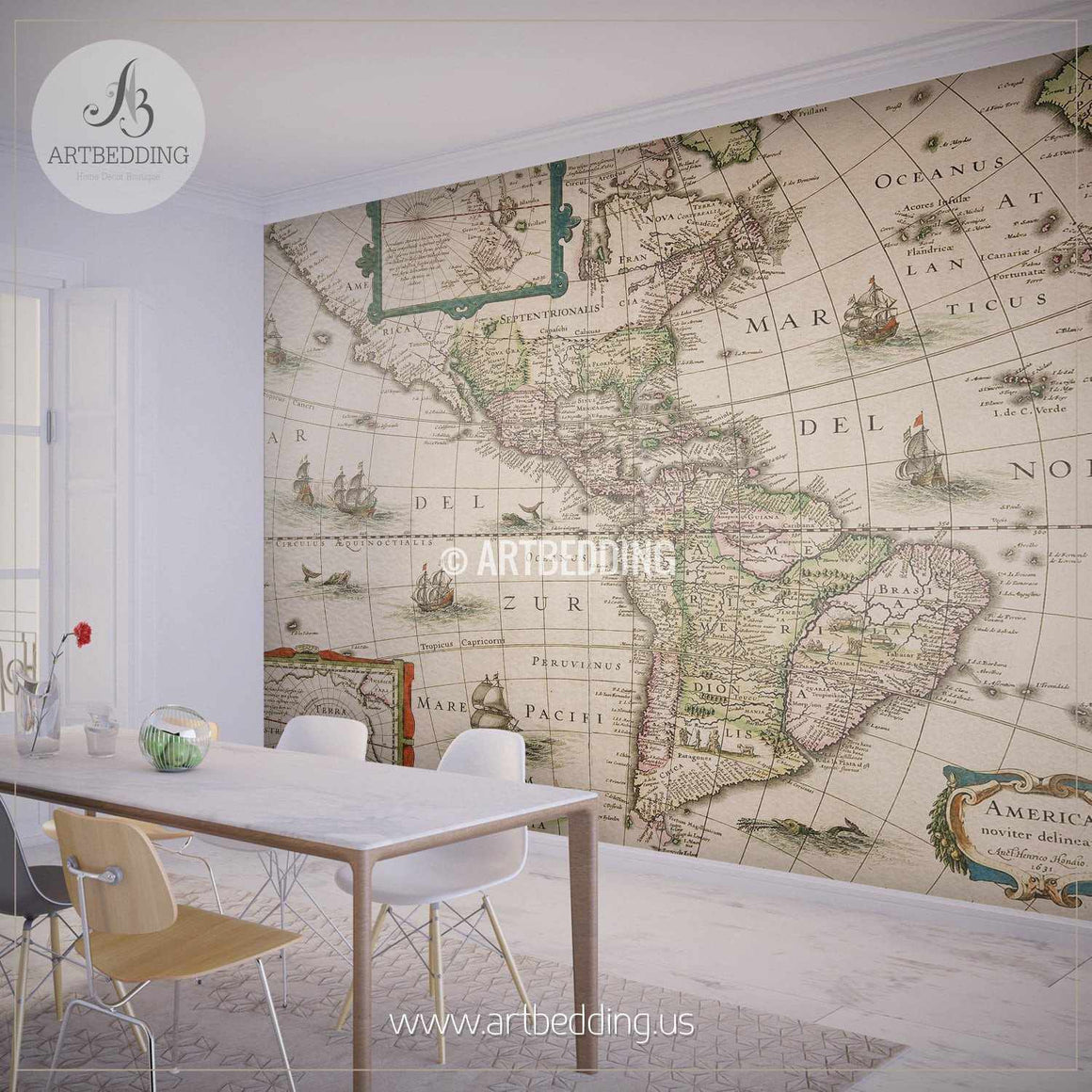 America map dated 1631 Wall Mural, Self Adhesive Peel & Stick Photo Mural, Atlas wall mural, mural home decor wall mural