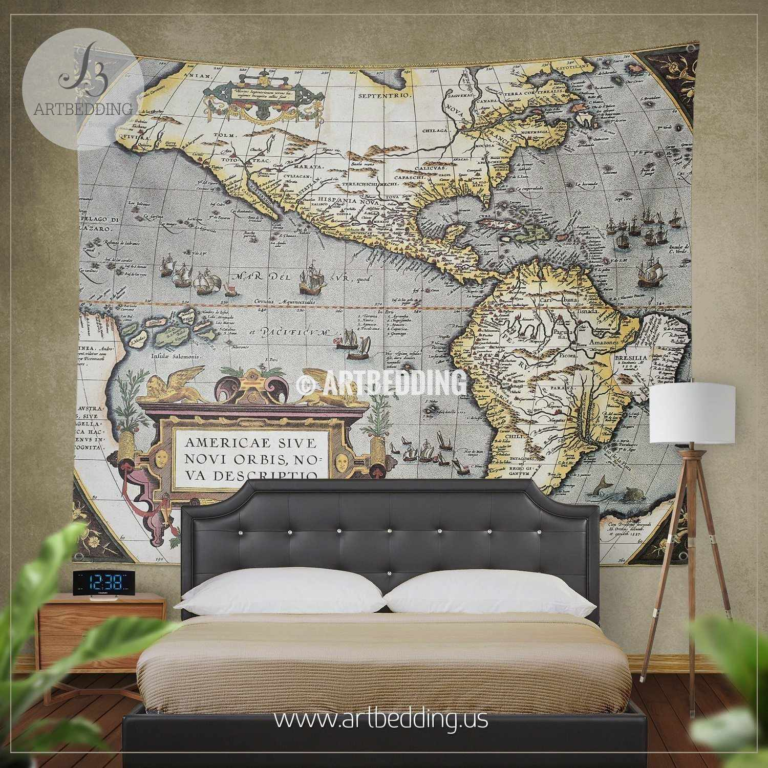 America old map bedding vintage old world map duvet cover set america old map bedding vintage atlas 1570 old america map duvet cover set antique gumiabroncs Gallery