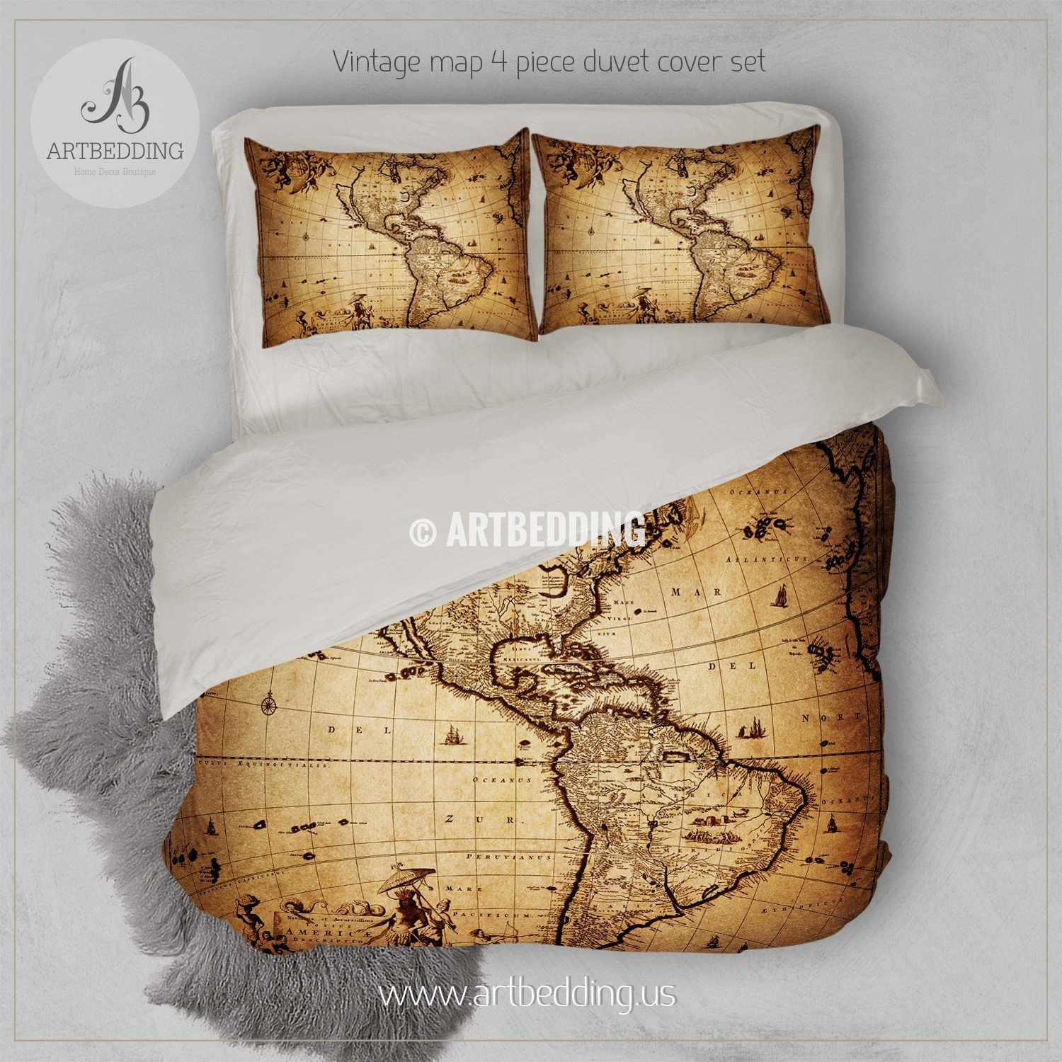 America old map bedding, Vintage South and North America map duvet on map sheet, map home decor, map drawing, map market garden, map paper, map quilt, map furniture, map gallery wall, map blanket, map games, map travel, map office decor, map wallpaper, map room ideas, map pillow, map dishes, map crib set, map baby nursery, map shower curtain, map themed bedroom,