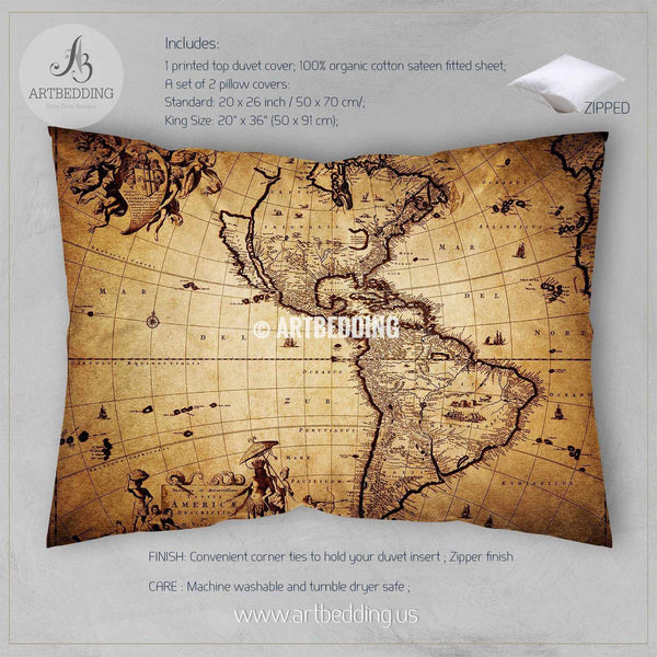 America Old Map Bedding Vintage South And North America Map Duvet