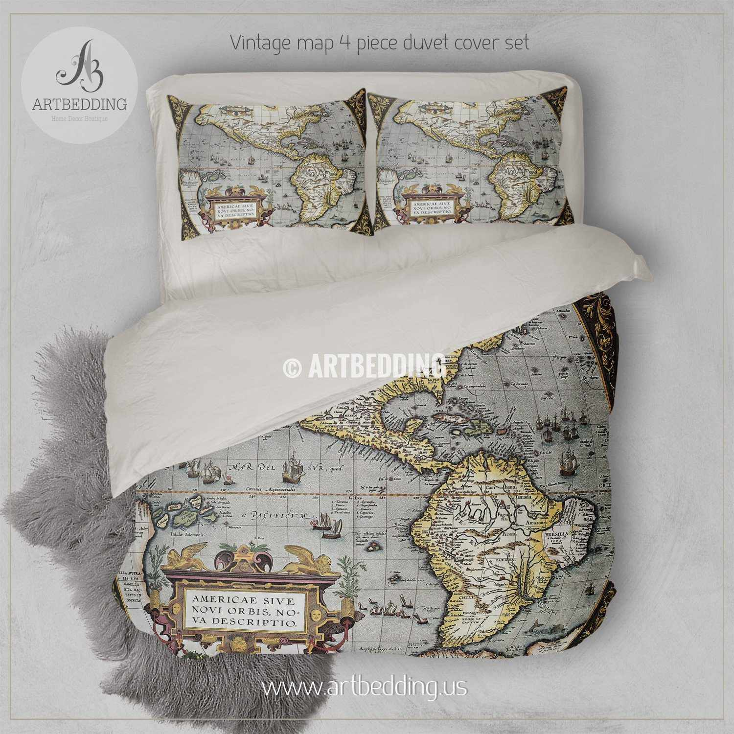 World Map Bedding America Old map bedding, Vintage old World map duvet cover set