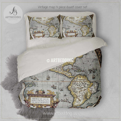 America Old map bedding, Vintage old World map duvet cover set, Antique map queen / king / full Bedding Set, Vintage steampunk map Duvet cover set Bedding set