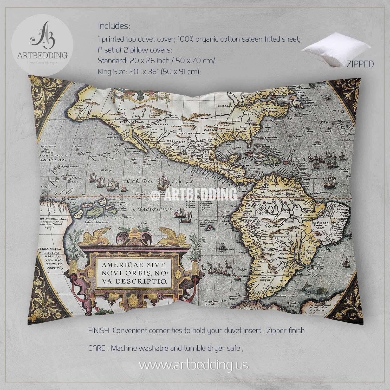 America Old map bedding, Vintage atlas 1570 old America map duvet cover  set, Antique map comforter set