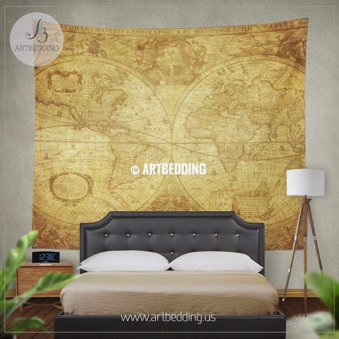 Ancient 1630 world map wall tapestry, vintage interior world map wall hanging, old map wall decor, vintage map wall art print Tapestry