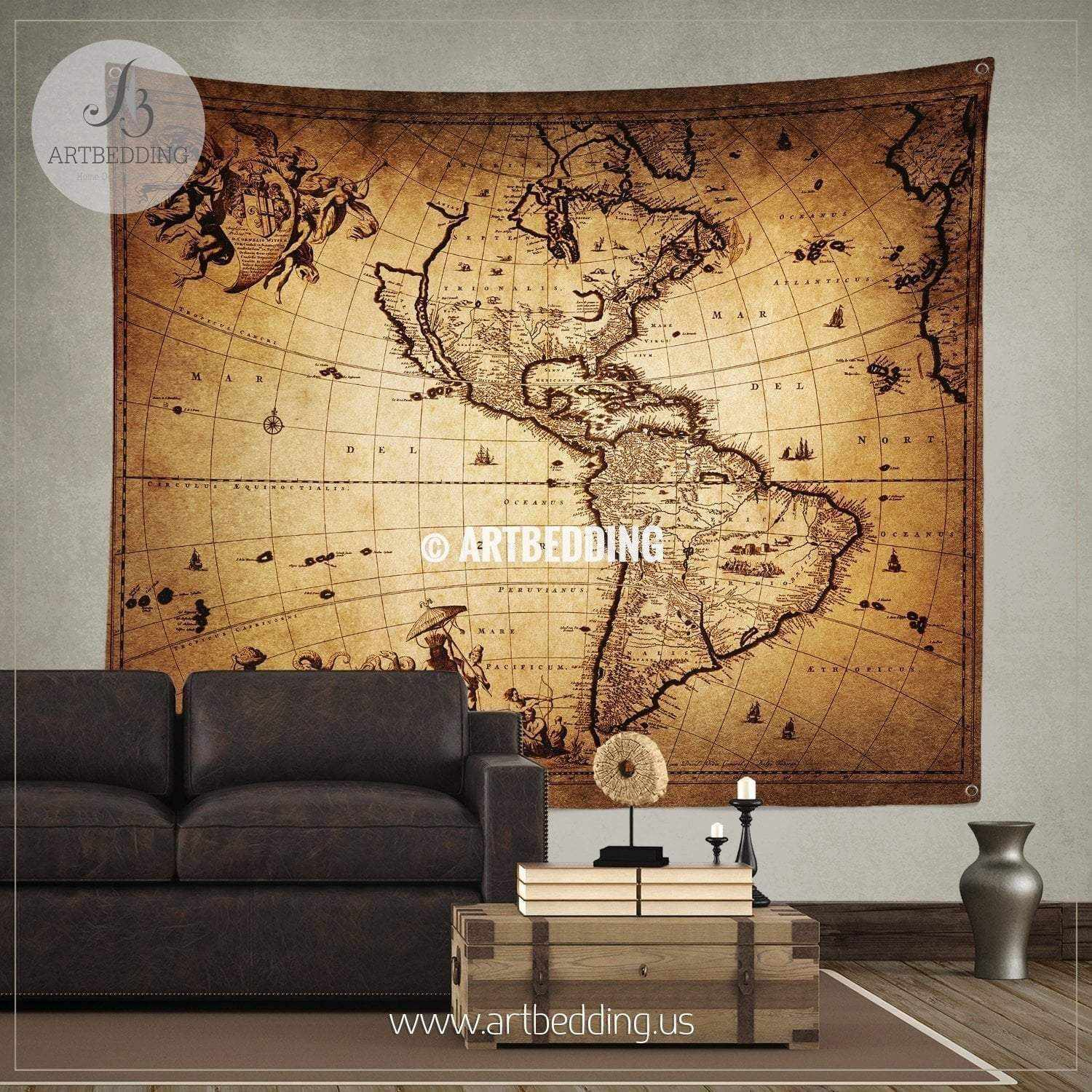 Ancient 1690 map of america wall tapestry vintage interior world ancient 1690 map of america wall tapestry vintage interior world map wall hanging old gumiabroncs Gallery