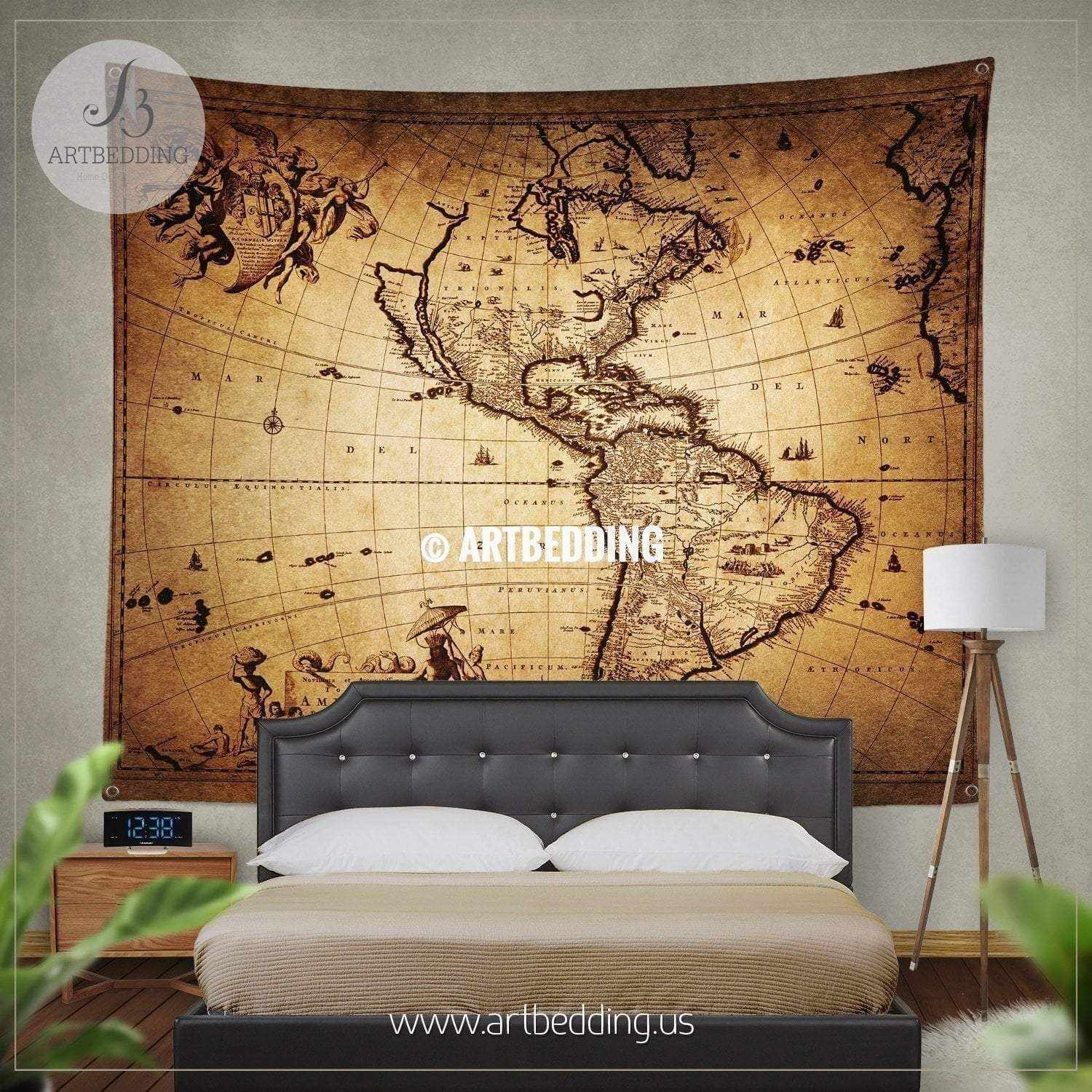 Ancient 1690 map of America wall tapestry, vintage interior world ...
