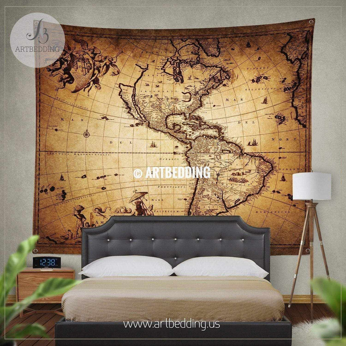 Ancient 1690 map of America wall tapestry, vintage interior world map wall hanging, old map wall decor, vintage map wall art print Tapestry