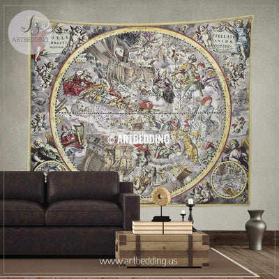 Ancient Christian celestial hemisphere 1660 world map wall tapestry, vintage interior world map wall hanging, old map wall decor, vintage map wall art print Tapestry