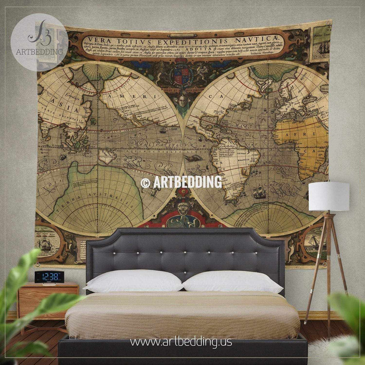 Ancient hemisphere map wall tapestry, vintage interior map wall hanging, old map wall decor, vintage map wall art print Tapestry