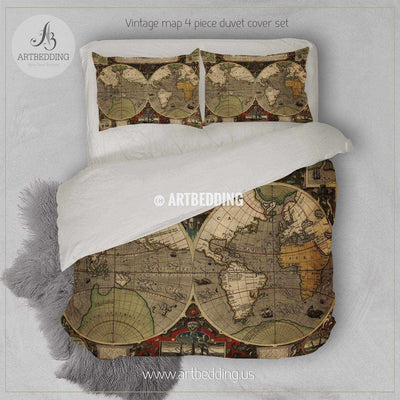 Ancient Map of World Hemisphere bedding, Vintage old map duvet cover set, Antique map comforter set Bedding set