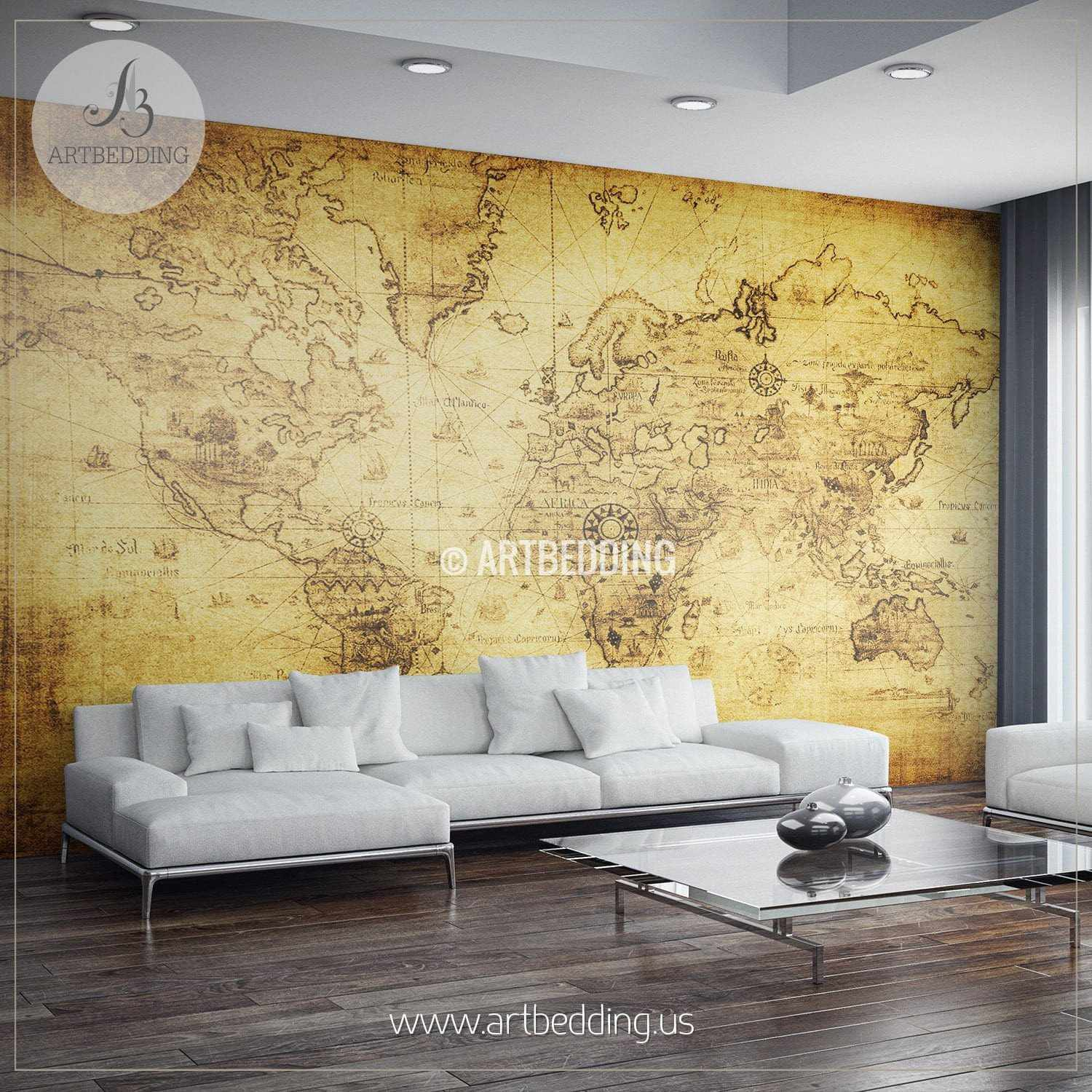 Vintage Map Wall Mural, Self Adhesive Photo Mural - ARTBEDDING