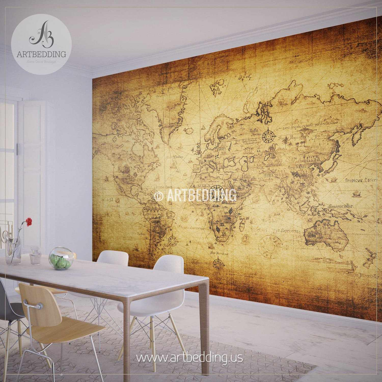 Wall murals wall tapestries canvas wall art wall decor tagged ancient world map wall mural self adhesive peel stick photo mural atlas wall amipublicfo Gallery