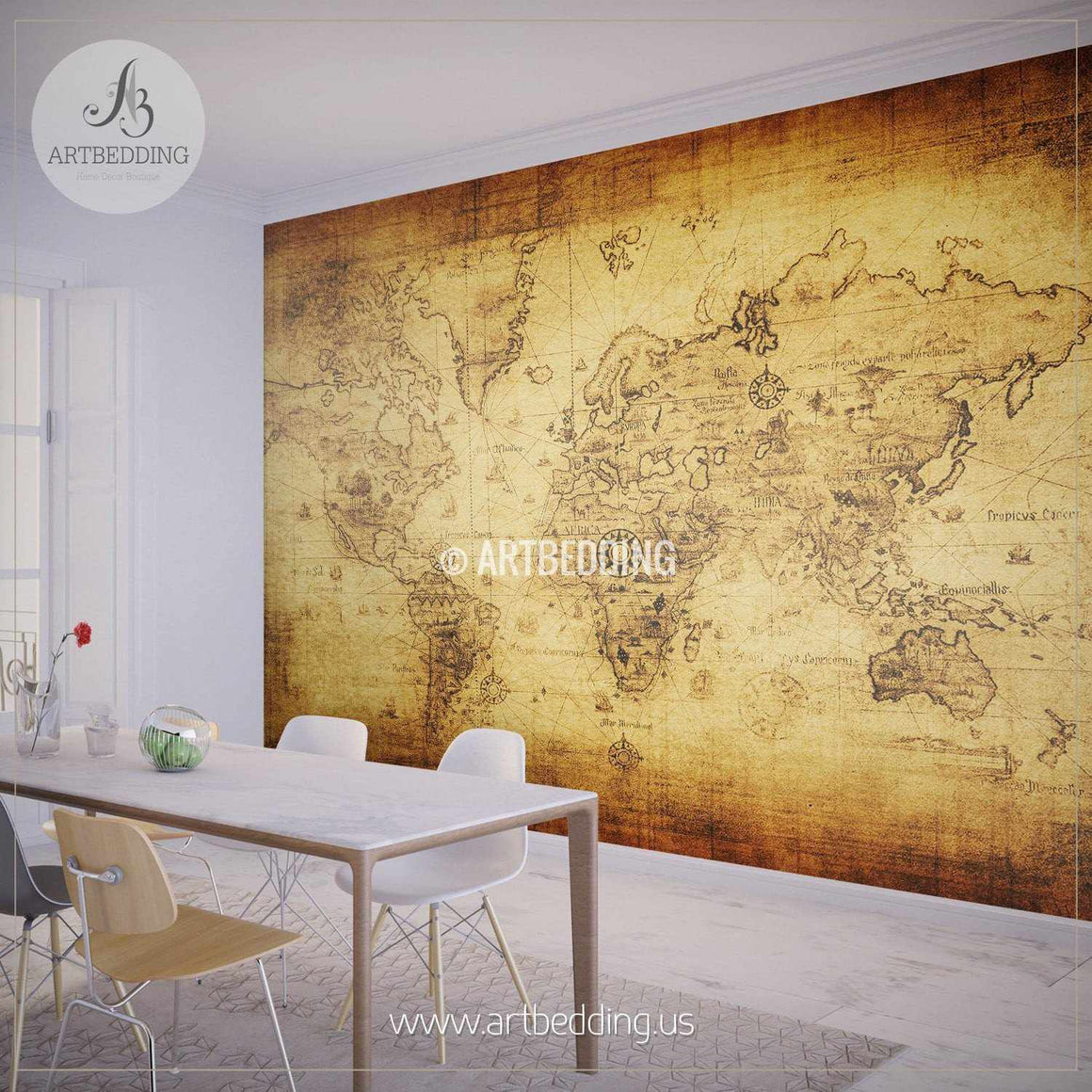 Ancient World Map Wall Mural, Self Adhesive Peel & Stick Photo Mural, Atlas wall mural, mural home decor wall mural