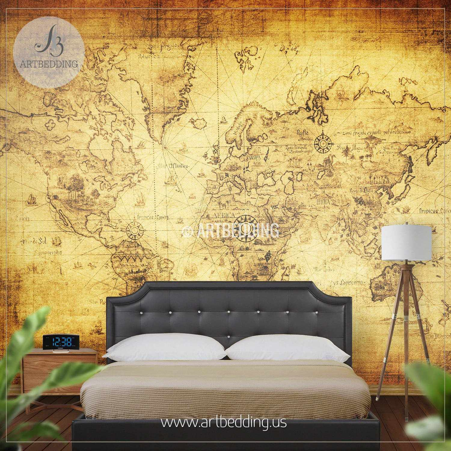 Vintage map wall mural self adhesive photo mural artbedding ancient world map wall mural self adhesive peel stick photo mural atlas wall gumiabroncs Image collections