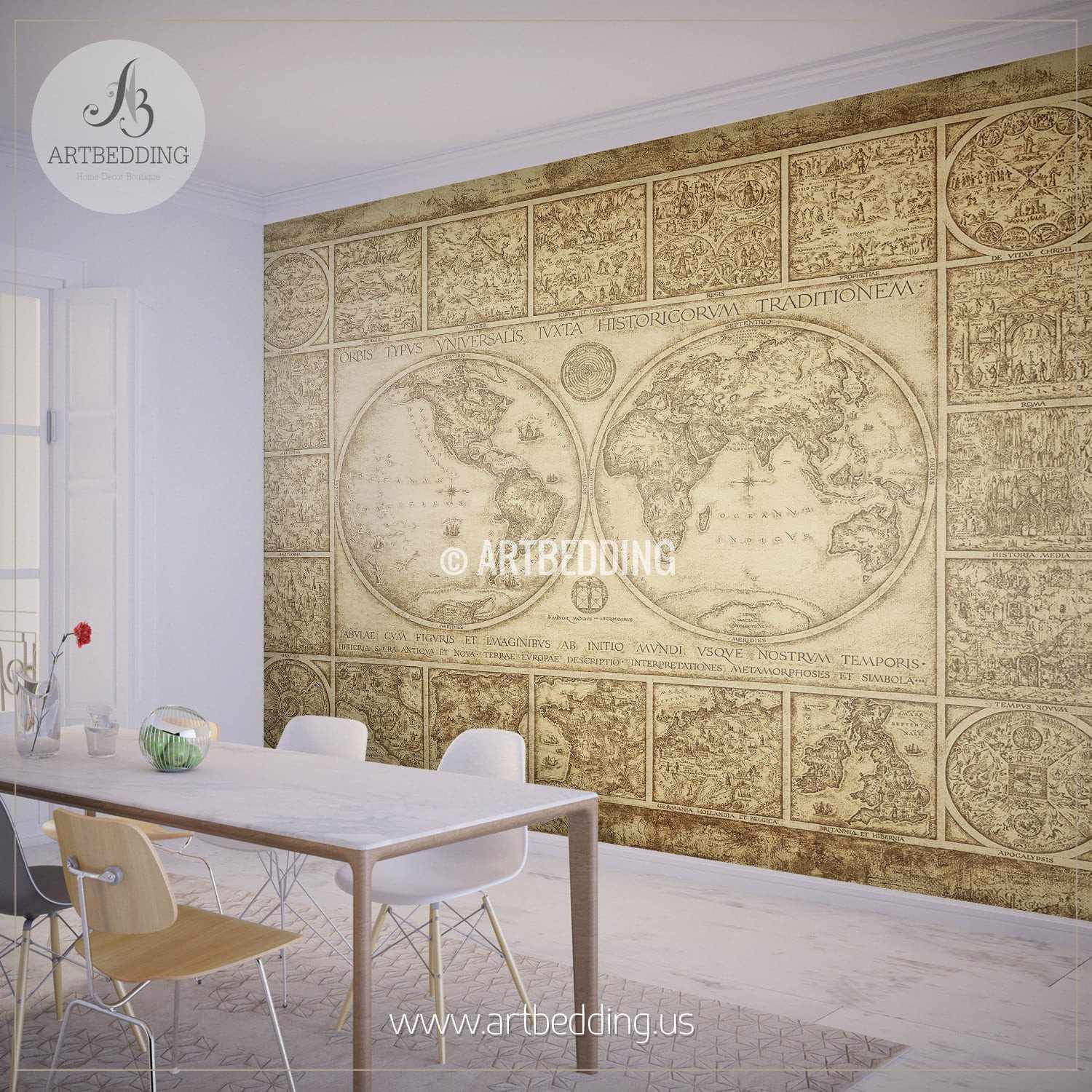 Vintage map wall mural self adhesive photo mural artbedding for Antique map mural