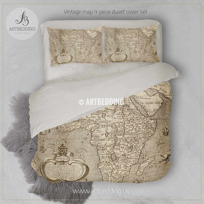 Antique map of Africa (circa 1600) bedding, Vintage old map duvet cover, Antique map queen / king / full Bedding Set, Vintage map Duvet cover set Bedding set