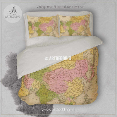 Antique map of Asia (1841) bedding, Vintage Asia old map duvet cover set, Antique map comforter set Bedding set