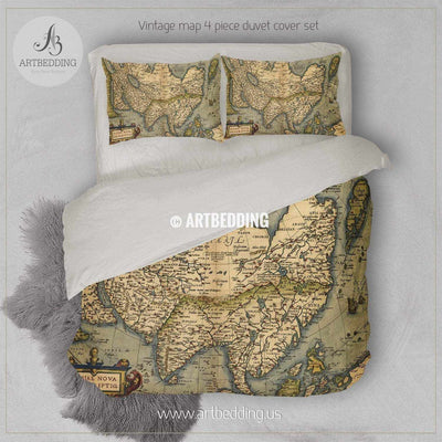 Antique Map of Asia  bedding, Vintage 1570 Asia old map duvet cover set, Ancient map comforter set Bedding set