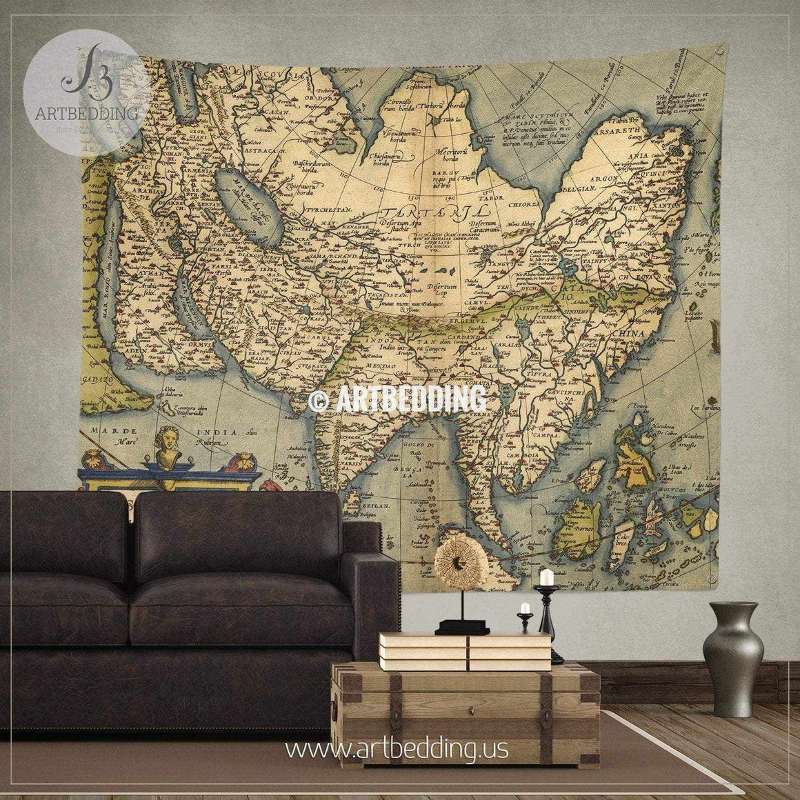 Antique Map of Asia wall tapestry, vintage interior map wall hanging, old map wall decor, vintage map wall art print Tapestry