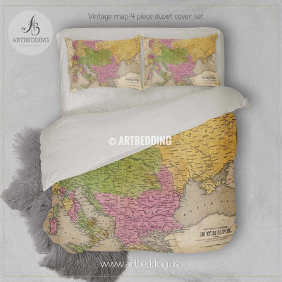 Antique map of Eastern Europe (1841) bedding, Vintage old map duvet cover, Antique map queen / king / full Bedding Set, Vintage map Duvet cover set Bedding set