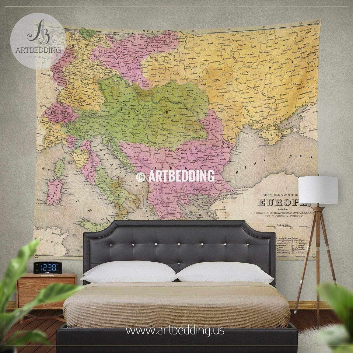 Antique map of Eastern Europe (1841) wall tapestry, vintage interior map wall hanging, old map wall decor, vintage map wall art print Tapestry