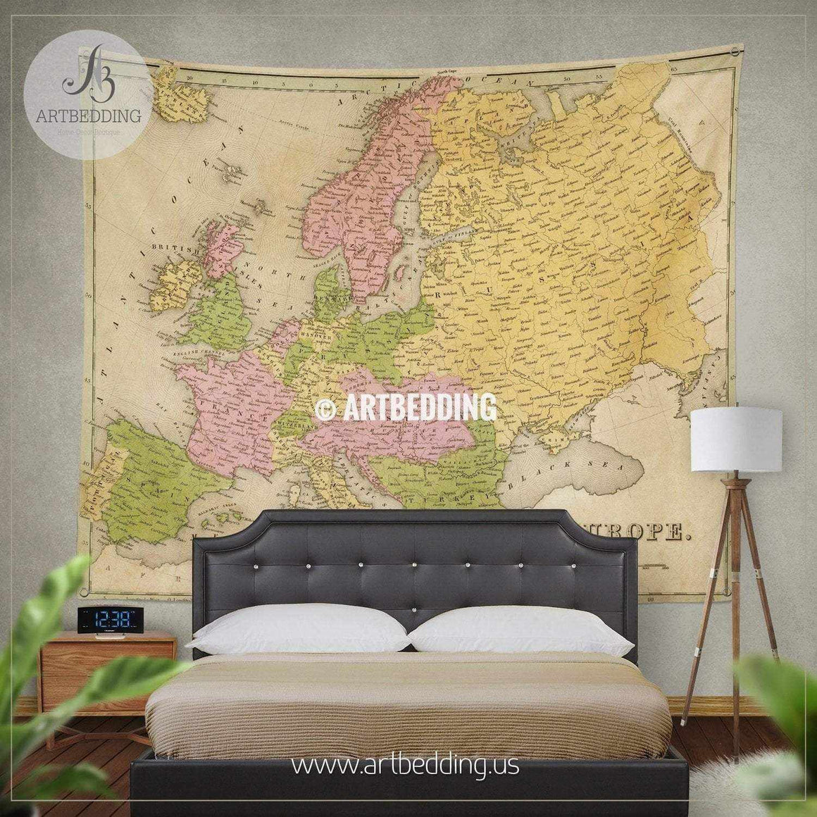 Antique map of Europe 1841 wall tapestry, vintage interior map wall hanging, old map wall decor, vintage map wall art print Tapestry
