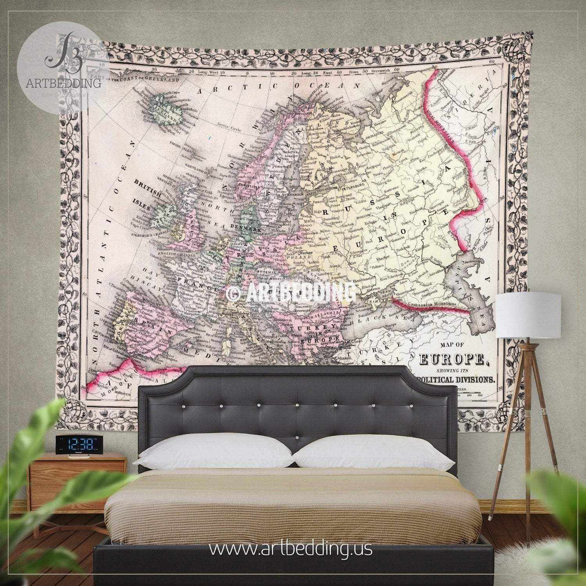 Antique Map of Europe 1870 wall tapestry, vintage interior map wall hanging, old map wall decor, vintage map wall art print Tapestry