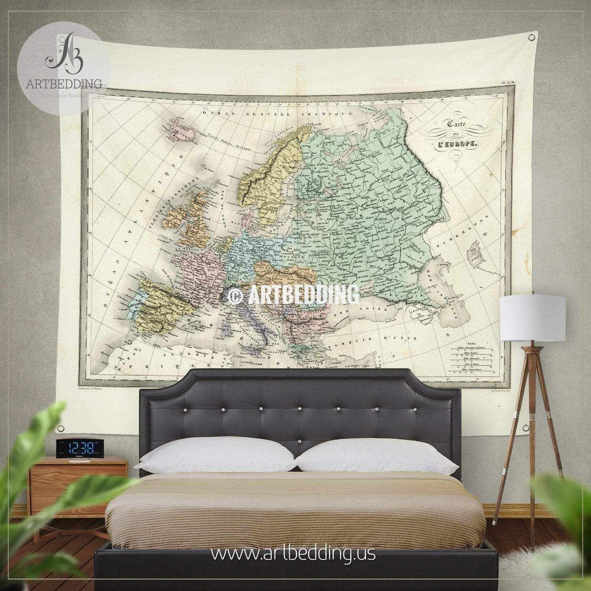 Antique Map of Europe wall tapestry, vintage interior map wall hanging, old map wall decor, vintage map wall art print Tapestry