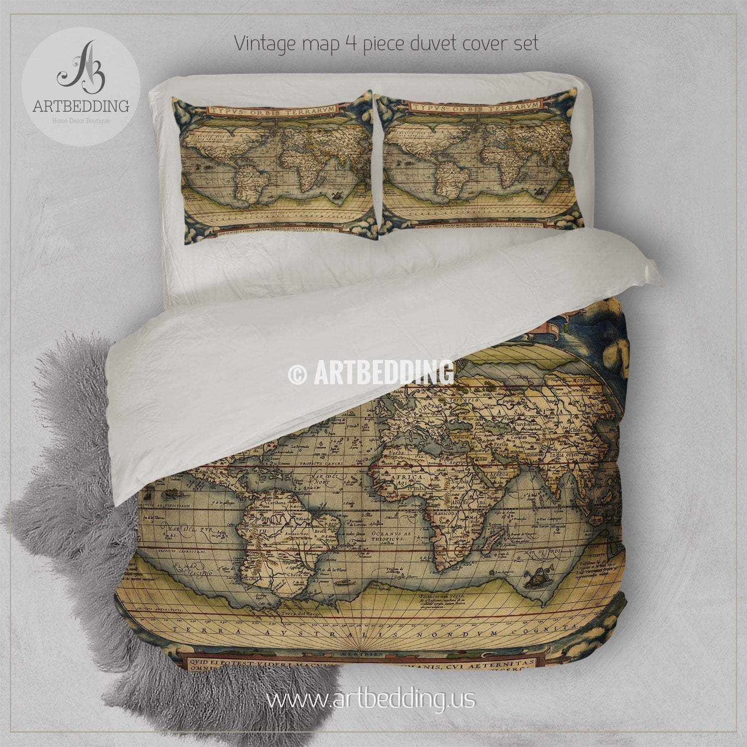 Antique Map of the World bedding, Vintage 1570 world map duvet cover set,  Antique map comforter set