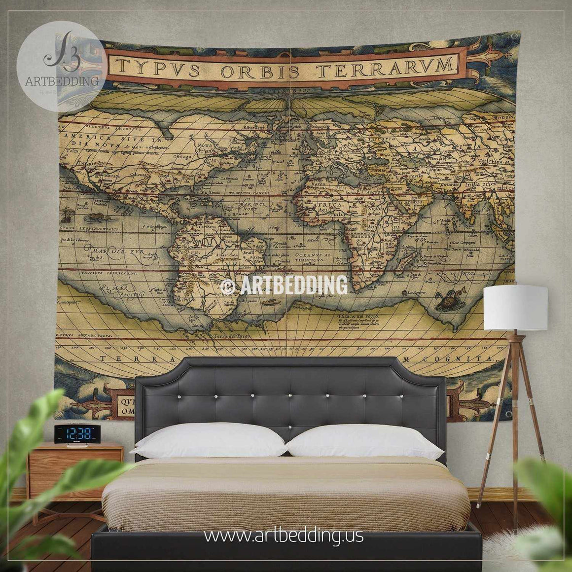 Antique Map of the World wall tapestry, vintage interior map wall hanging, old map wall decor, vintage map wall art print Tapestry